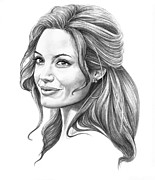 Famous People Drawings - Angelina Jolie by Murphy Elliott