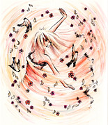 Nature Divine Drawings Posters - Angels Dance Poster by Rachel Christine Nowicki