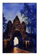 Locations Painting Prints - Angkor Sunrise Print by Ryan Fox