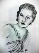 Movie Icon Drawings Posters - Ann Sheridan Poster by Jean Billsdon