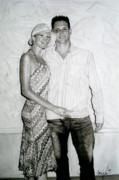 Hyper-realism Drawings - Anniversary Portrait by Carrie Jackson