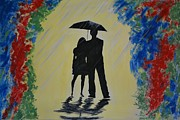Embracing Painting Posters - Another Rainy Day Poster by Leslie Allen