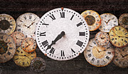  Old Face Prints - Antique clocks Print by Elena Elisseeva