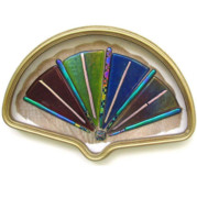 Fused Glass Glass Art - Antique Framed Glass Fan by Marilyn Catlow