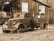 Rural Landscapes Originals - Antique Tow Truck by Barbara Bowen