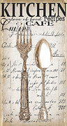 Bistro Painting Prints - Antique Utensils for Kitchen and Dining in White Print by Grace Pullen