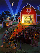 Barn Painting Posters - Ants at the Movies Poster by Robin Moline