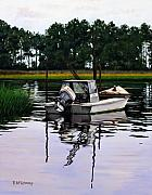 Fishing Boat Reflection Prints - Apalach Print by Rick McKinney