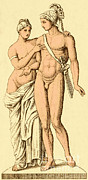 Drawing Of Lovers Art - Aphrodite And Ares, Greek Olympians by Photo Researchers