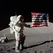 American Flags Framed Prints - Apollo 17 Astronaut Salutes The United Framed Print by Stocktrek Images