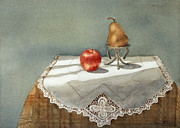 Fruit Still Life Posters - Apple and Pear Poster by Sari Sauls