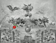 Grapes Art Prints - Apple of knowledge Print by Manfred Lutzius