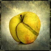 Manipulation Photo Framed Prints - Apple textured Framed Print by Bernard Jaubert