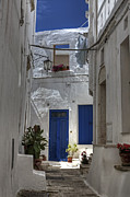 White Walls Posters - Apulia - blue-white Poster by Joana Kruse