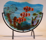 Fused Glass Art Framed Prints - Aquarium Framed Print by Lisa Kohn