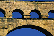 Europe Photo Framed Prints - Aqueduc du Pont du Gard.Provence Framed Print by Bernard Jaubert