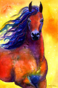 Wildlife Art Drawings Posters - Arabian horse 1 painting Poster by Svetlana Novikova