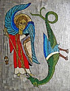 Red White And Blue Mixed Media Posters - Archangel Michael and the Dragon    Poster by Sarah Loft