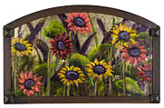 Vic Mastis Framed Prints - Arched Sunflowers with Gold Leaf by Vic Mastis Framed Print by Vic  Mastis