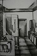 Shower Drawings Prints - Architectural Bathroom Rendering Print by Stacey Abrams