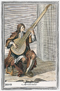 Lutenist Framed Prints - Archlute, 1723 Framed Print by Granger