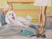 Toy Maltese Prints - Are You Painting My Portrait Print by Lisa Hershman