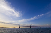 Charleston Sunset Framed Prints - Arthur Ravenel Jr Bridge Charleston SC Cooper River Framed Print by Dustin K Ryan