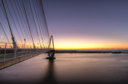 River Digital Art Originals - Arthur Ravenel Jr Bridge Sunrise by Dustin K Ryan