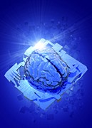 Human Brain Art - Artificial Intelligence, Conceptual Image by Victor Habbick Visions