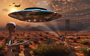 Flying Saucer Prints - Artists Concept Of Stealth Technology Print by Mark Stevenson