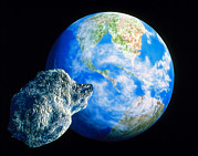 Asteroid Framed Prints - Artwork Of K/t Asteroid Approaching Earth Framed Print by Julian Baum