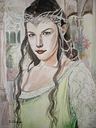 The Lord Of The Ring Painting Framed Prints - Arwen of Rivendell Framed Print by Yulia Litvinova