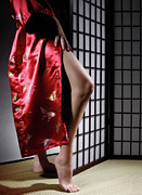 Voyeuristic Framed Prints - Asian Woman in Red Kimono Framed Print by Oleksiy Maksymenko