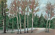 Trees Pastels Originals - Aspen in the Snow by Donald Maier