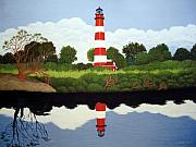 North American Lighthouses - Paintings By Frederic Kohli - Assateague Island Lighthouse by Frederic Kohli