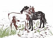 Wild Horse Drawings - Assateague Wind by JAMART Photography