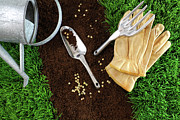 Dirt Art - Assortment of garden tools on earth by Sandra Cunningham