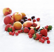 Peaches Prints - Assortment Of Summer Fruit Print by David Munns