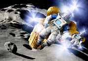 Impact Art - Asteroid Deflection, Astronauts by Detlev Van Ravenswaay