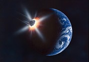 Impacting Metal Prints - Asteroid Impacting The Earth, Artwork Metal Print by Richard Bizley