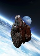 Asteroid Mining Framed Prints - Asteroid Mining, Artwork Framed Print by Victor Habbick Visions