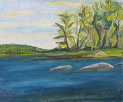 Francois Fournier Paintings - At Barbue Lake Frontenac National Park Lambton Quebec Canada by Francois Fournier