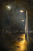 Foggy Street Scene Acrylic Prints - at Night Acrylic Print by Svetlana Sewell