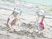 Clemente Prints - At the Beach Print by Traci Lehman