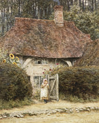 Country Cottage Framed Prints - At the Cottage Gate Framed Print by Helen Allingham