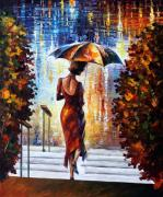 Men Art Painting Originals - At The Steps by Leonid Afremov