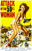Classic Sf Posters Framed Prints - Attack Of The 50 Foot Woman, Allison Framed Print by Everett