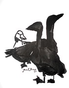 Minimalistic Paintings - Aunt Dottys Geese by Janel Bragg