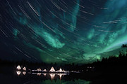 Star Trails Framed Prints - Aurora And Star Trails Framed Print by Yuichi Takasaka
