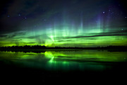 Water Color Prints - Aurora Borealis Near The Village Print by Zoltan Kenwell
